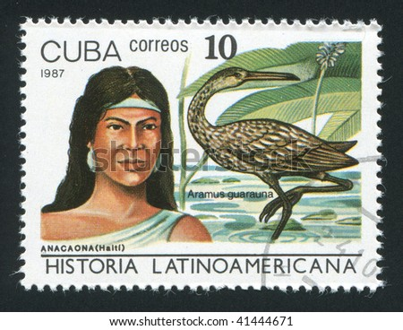 CUBA - CIRCA 1987: Latin American History, Indians and birds, circa 1987.