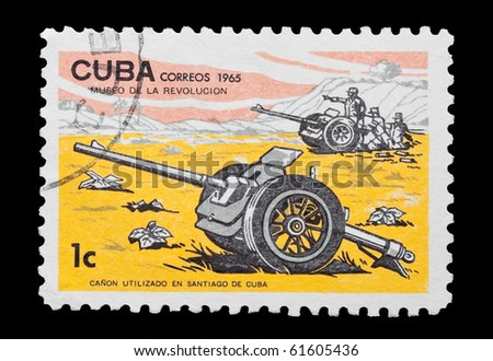 CUBA - CIRCA 1965: mail stamp printed in Cuba featuring military artillery cannons, circa 1965