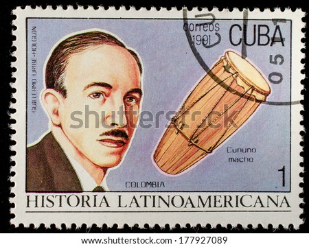CUBA - CIRCA 1991: Postage stamp printed in Cuba showing an image of composer Guillermo Uribe Holgu�­n, circa 1991.