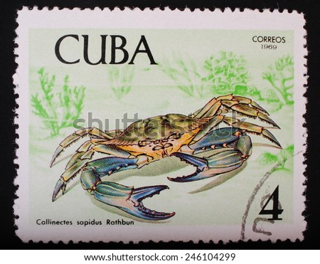 Cuba-circa 1969: Postage stamp printed in Cuba shows a color image underwater creatures blue crab fauna theme philately - stock photo