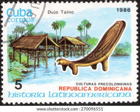CUBA - CIRCA 1986: postage stamp shows a series of images the culture of the peoples of the central, circa 1986   - stock photo