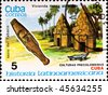 CUBA - CIRCA 1986: postage stamp shows example Cuban culture, circa 1986 - stock photo