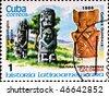 CUBA - CIRCA 1986: postage stamp shows example Quimbaya culture, circa 1986 - stock photo