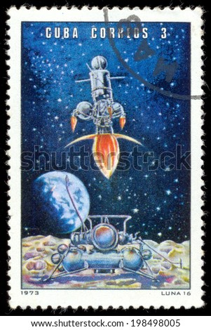 "CUBA - CIRCA 1973: Postage stamps printed in Cuba shows Soviet space station ""Luna - 16"", circa 1973 - stock photo"