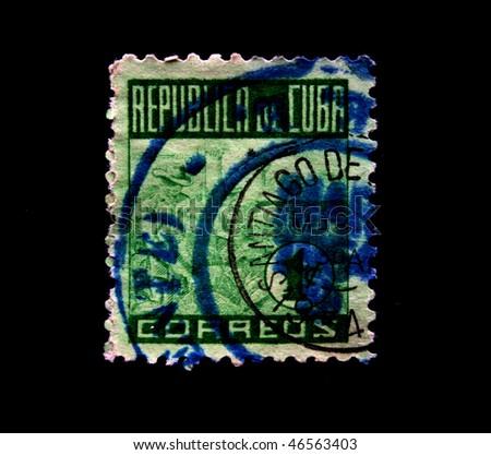 CUBA - CIRCA 1950s: A stamp printed in Cuba shows image Cuban cigars makers, series, circa 1950s - stock photo