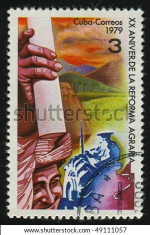 CUBA - CIRCA: 1979: stamp printed by Cuba, shows Agrarian Reform 20th Anniv, circa 1979.