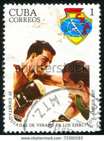 CUBA - CIRCA 1977: stamp printed by Cuba, shows Boxers, circa 1977 - stock photo