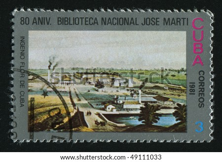 CUBA - CIRCA 1981: stamp printed by Cuba, shows Natl. Library, circa 1981.