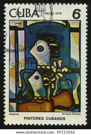 CUBA - CIRCA 1978: stamp printed by Cuba, shows Paintings by Amelia Pelaez del Casal, circa 1978.