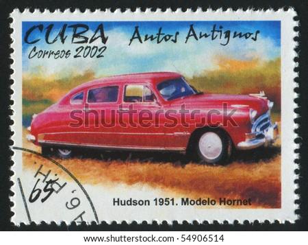 CUBA - CIRCA 2002: stamp printed by Cuba,  shows retro car, circa 2002. - stock photo