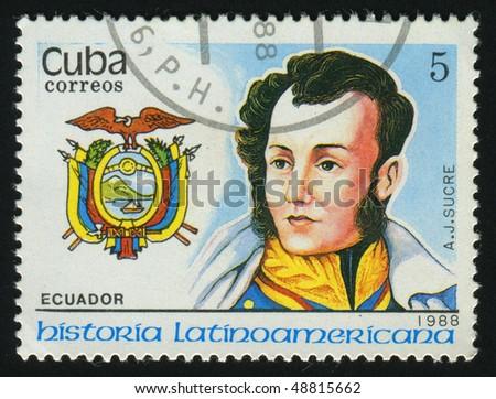 CUBA - CIRCA 1988: stamp printed by Cuba, shows Sucre, Ecuador, circa 1988. - stock photo