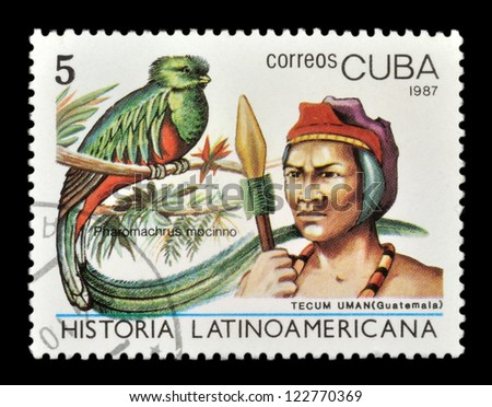 CUBA - CIRCA 1987: stamp printed by Cuba, shows the history of the peoples of Latin America, circa 1987