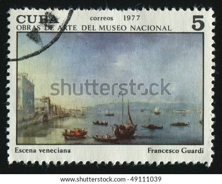 CUBA - CIRCA 1977: stamp printed by Cuba, shows Venetian Landscape, by Francesco Guardi, circa 1977.