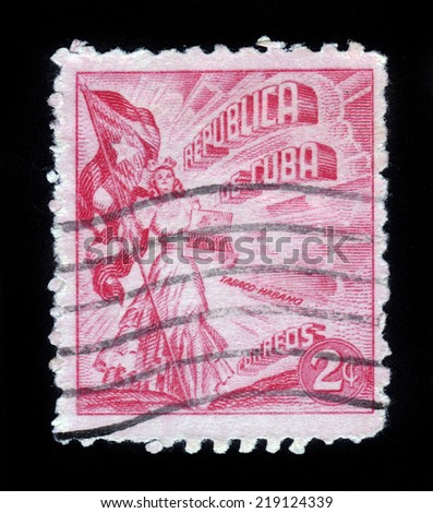 CUBA - CIRCA 1953: stamp printed by Cuba, shows young woman with a cuban flag, holding a box of cuban cigars, circa 1953 - stock photo