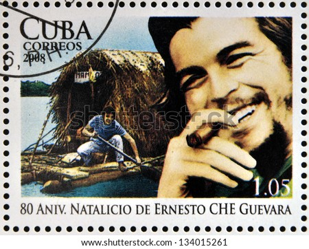 CUBA - CIRCA 2008: Stamp printed in Cuba dedicated to 80th anniversary of the birth of Ernesto Che Guevara, circa 2008 - stock photo