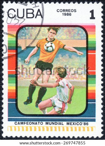 CUBA - CIRCA 1985: Stamp, printed in Cuba showing world championship on football in Mexico 1986, circa 1985 - stock photo