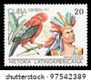 CUBA - CIRCA 1987: The postal stamp printed in CUBA shows Atahvalpa (Peru) and Rupicola peruviana, series History of Latin America, circa 1987 - stock photo