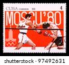 CUBA-CIRCA 1979: The postal stamp printed in CUBA shows boxing, series Olympic Games in Moscow 1980, circa 1979 - stock photo