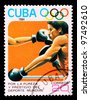CUBA-CIRCA 1984: The postal stamp printed in CUBA shows boxing, series sporting competitions, circa 1984 - stock photo