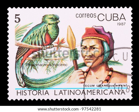 CUBA - CIRCA 1987: The postal stamp printed in CUBA shows tecum uman, (Guatemala) and pharomachrus mocinno, series History of Latin America, circa 1987