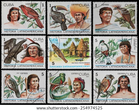 CUBA - CIRCA 1987: The postal stamp printed in CUBA shows the leaders in