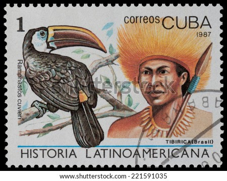 CUBA - CIRCA 1987: The postal stamp printed in CUBA shows tibirica (Brasil) and ramphastos cuvieri, circa 1987 - stock photo