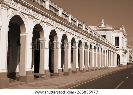 Cuba - colonial town architecture. Cienfuegos in sepia tone - retro monochrome color style. - stock photo