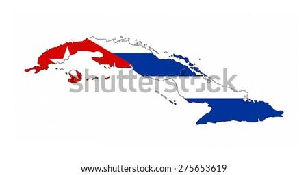 cuba country flag map shape national symbol - stock photo