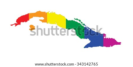 cuba country gay pride flag map shape