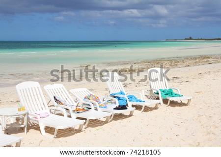 Cuba - famous Cayo Coco beach, all inclusive resort - stock photo