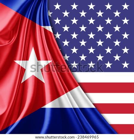 Cuba flag America flag - stock photo