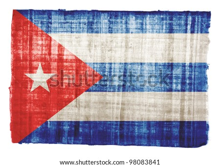 Cuba flag on original papyrus background - stock photo