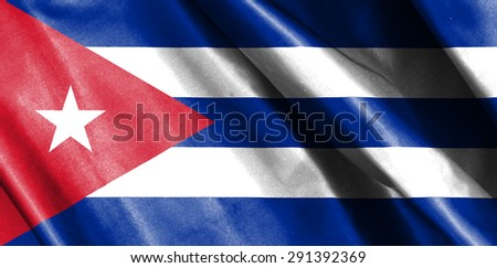 Cuba flag on soft and smooth silk texture - stock photo