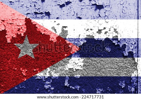 Cuba flag painted on grunge wall  - stock photo