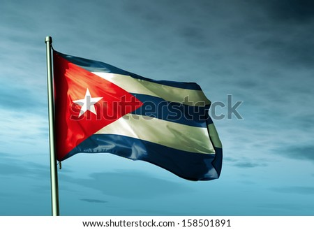 Cuba flag waving in the evening - stock photo