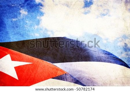 Cuba flag waving in the wind -  grunge style - stock photo