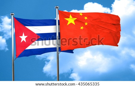 Cuba flag with China flag, 3D rendering