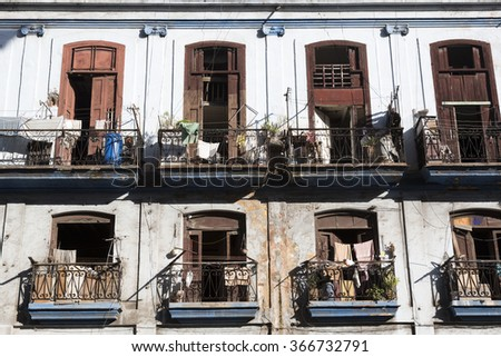 Cuba, Havana, old balconies - stock photo