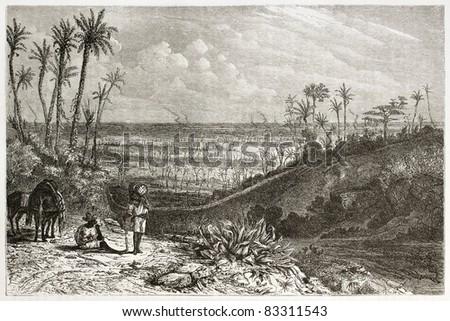 Cuba landscape, old illustration. Created by Huet after Miahle, published on Le Tour du Monde, Paris, 1860 - stock photo