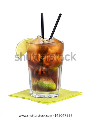 Cuba Libre Cocktail Also called Free Cuba, a highball made of cola, lime, and white rum. - stock photo