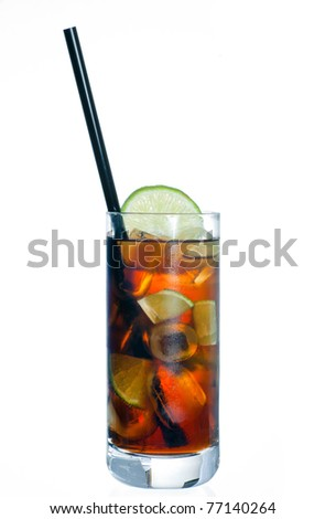 cuba libre cocktail drink in glass isolated