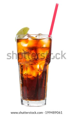 Cuba libre cocktail isolated on white background