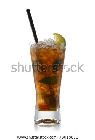 Cuba libre cocktail isolation on a white