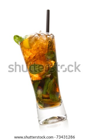 Cuba libre cocktail isolation on a white - stock photo