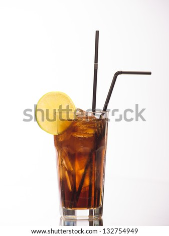 Cuba Libre cocktail on white background