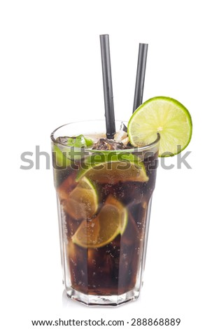 Cuba Libre Cocktail with lime on a white background