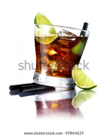 Cuba Libre Cocktail with rum and fresh lime isolated on white background, for drink concepts. - stock photo