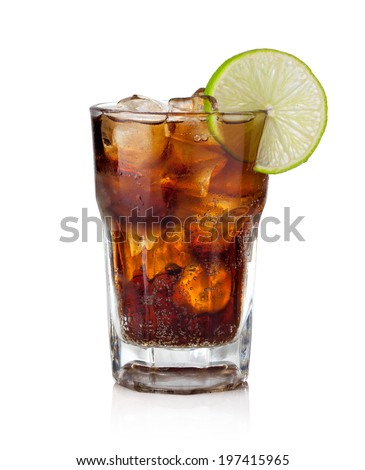 Cuba Libre Drink with lime on a white background - stock photo