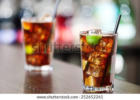 Cuba libre is a famouse cuban cocktail.  - stock photo