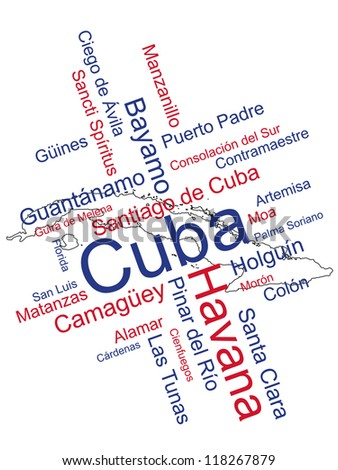 Cuba map and words cloud with larger cities; eps vector also available - stock photo